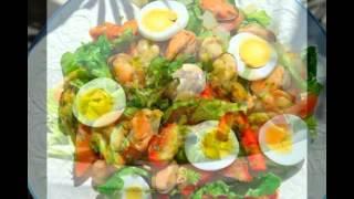 Зелёные салаты с яйцом