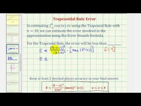 Trapezoid Rule Error - Numerical Integration Approximation