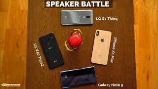 LG V40 ThinQ vs. iPhone Xs Max vs. Galaxy Note9 vs. LG G7 ThinQ: Speaker Test