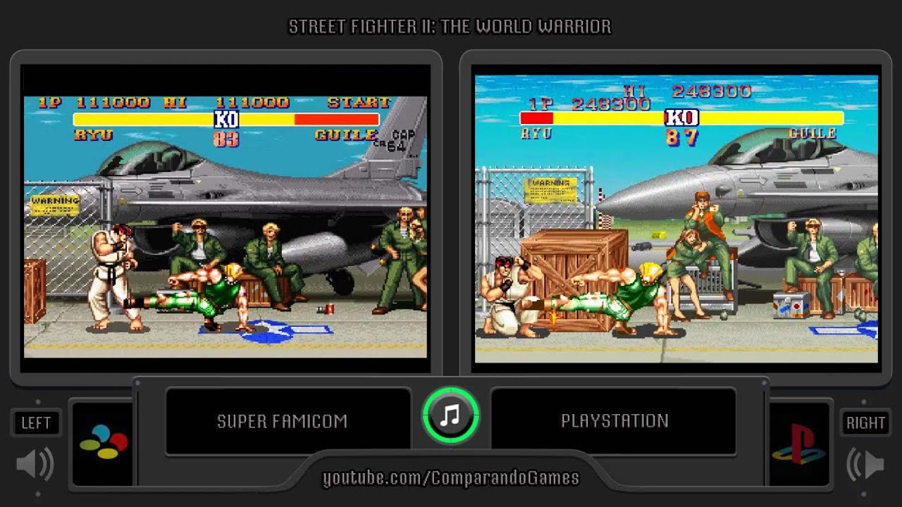 Street Fighter Ii The World Warrior Snes Vs Playstation Side By Side Comparison Super Famicom Youtube