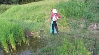 7/30から8/1にかけて、ロープを使って畦草を除草し、イノシシ防除のネッ...