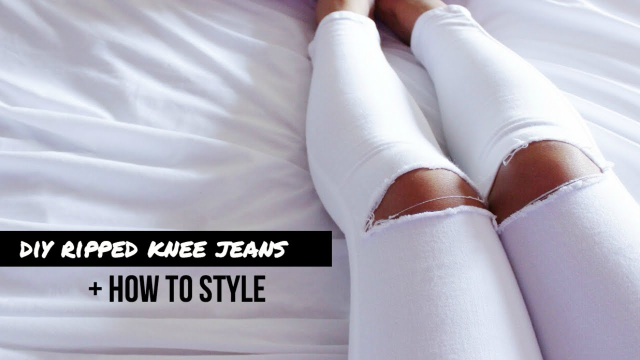 Diy ripped knee jeans how to style youtube solutioingenieria