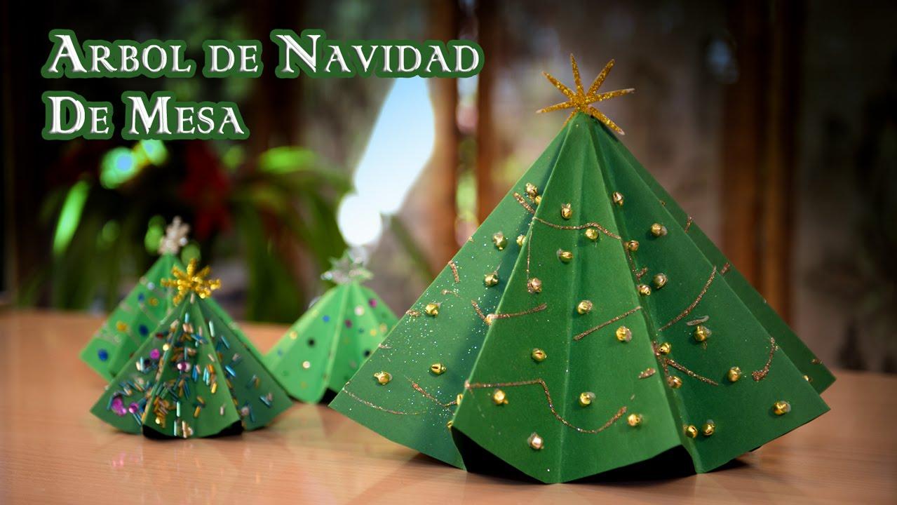 Arbol navidad de mesa de papel youtube for Arboles de navidad manualidades navidenas