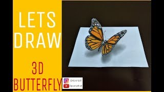 [3D] Let's draw a 3D Butterfly (Anamorphic illusion)