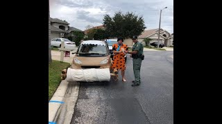 Man dressed as Fred Flintstone pulled over in footmobile