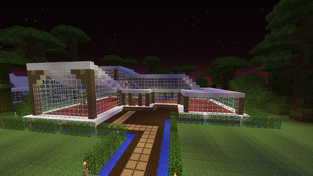Como hacer casa moderna en minecraft tama o grande for Casa moderna 64