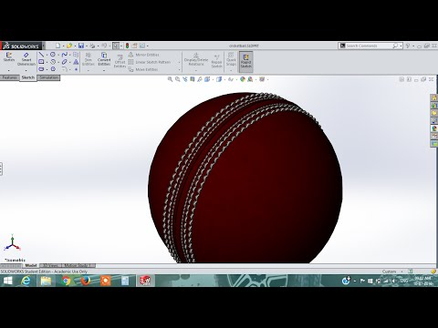solidworks tutorial |how to draw cricket ball in solidworks |tutorial 2015-16
