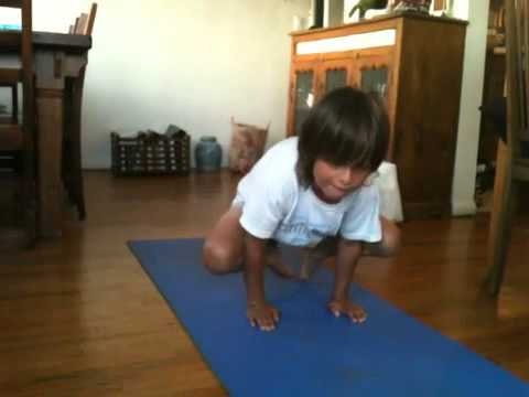 fiveyearold ben does crow pose  mini yogis yoga for