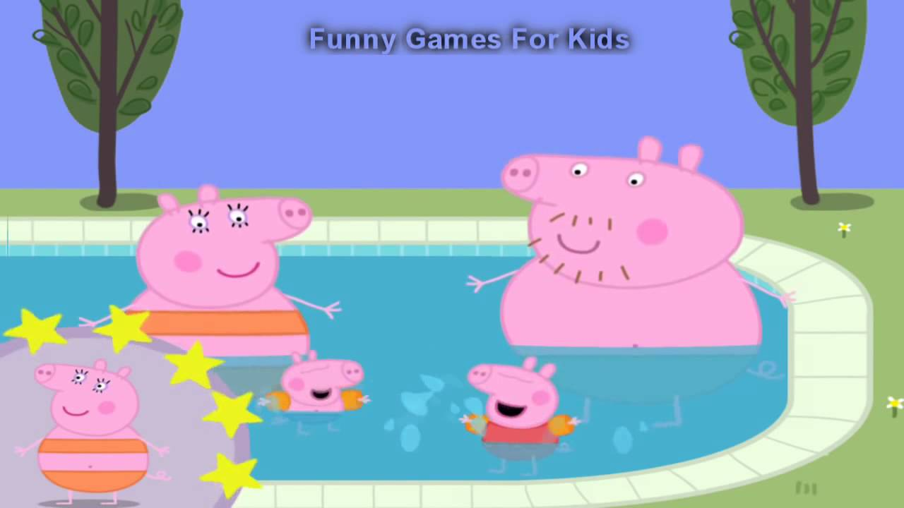 Peppa Pig Mummy Pig Daddy Pig And George Pig Go Swimming Peppa Pig In Swimming Pool Youtube