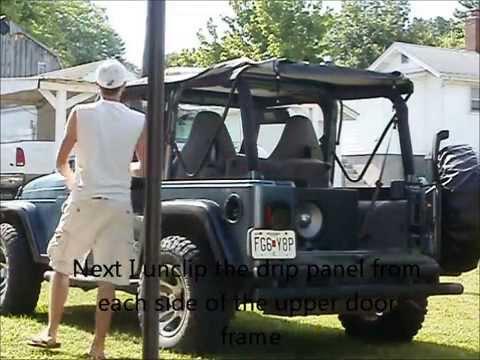 jeep wrangler tj soft top removal youtube. Black Bedroom Furniture Sets. Home Design Ideas