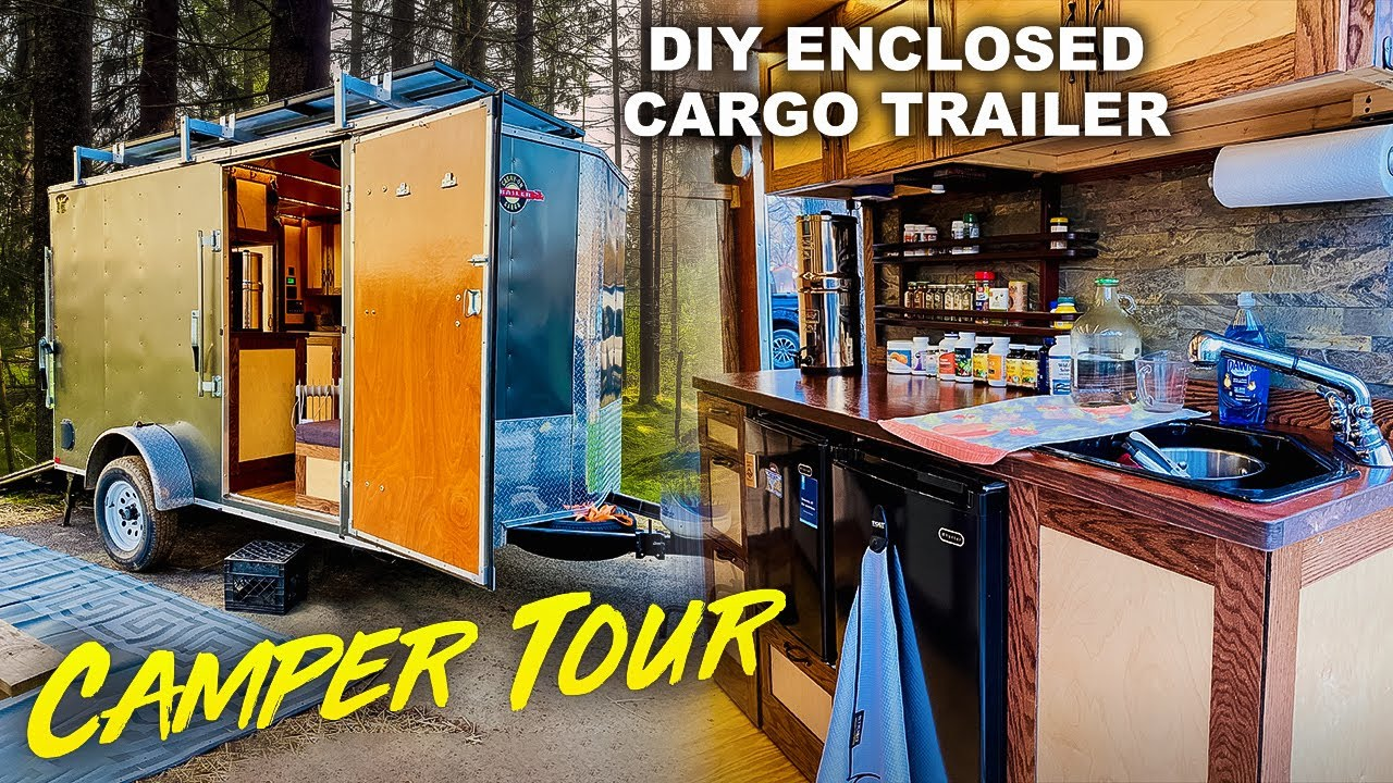 FULL TOUR | Cargo Utility Trailer Camper Toy Hauler Conversion Build Out - Stealth Off-Grid Camping
