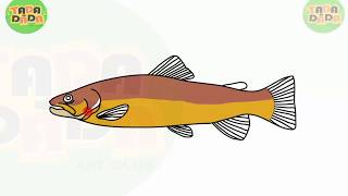 How to draw and paint BROWN TROUT FISH | STEP BY STEP | TADA-DADA Art Club