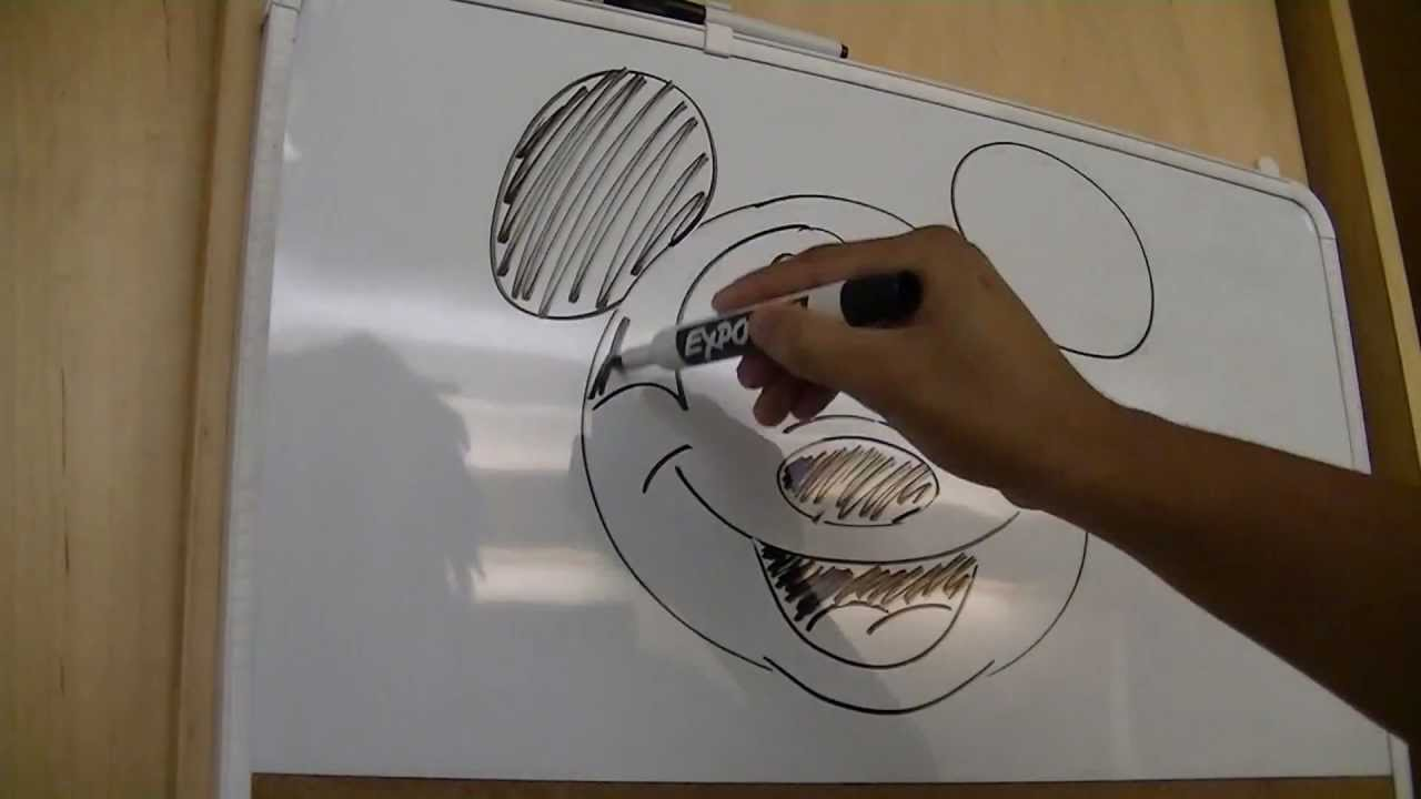 Whiteboard drawing 4 mickey mouse youtube for Easy whiteboard drawings