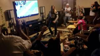 Cowboys fans react to Cowboys scoring winning touchdown.  Cowboys 35 Steelers 30 11/13/16