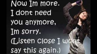 Selena Gomez & The Scene - I Won't Apologize - Lyrics On Screen