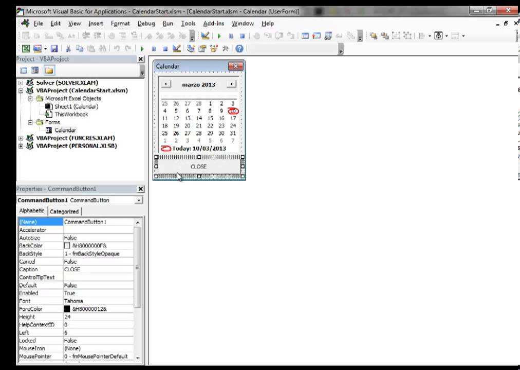 Excel 2013 Video 10 Insert a Calendar Datepicker in a Floating VBA Userform