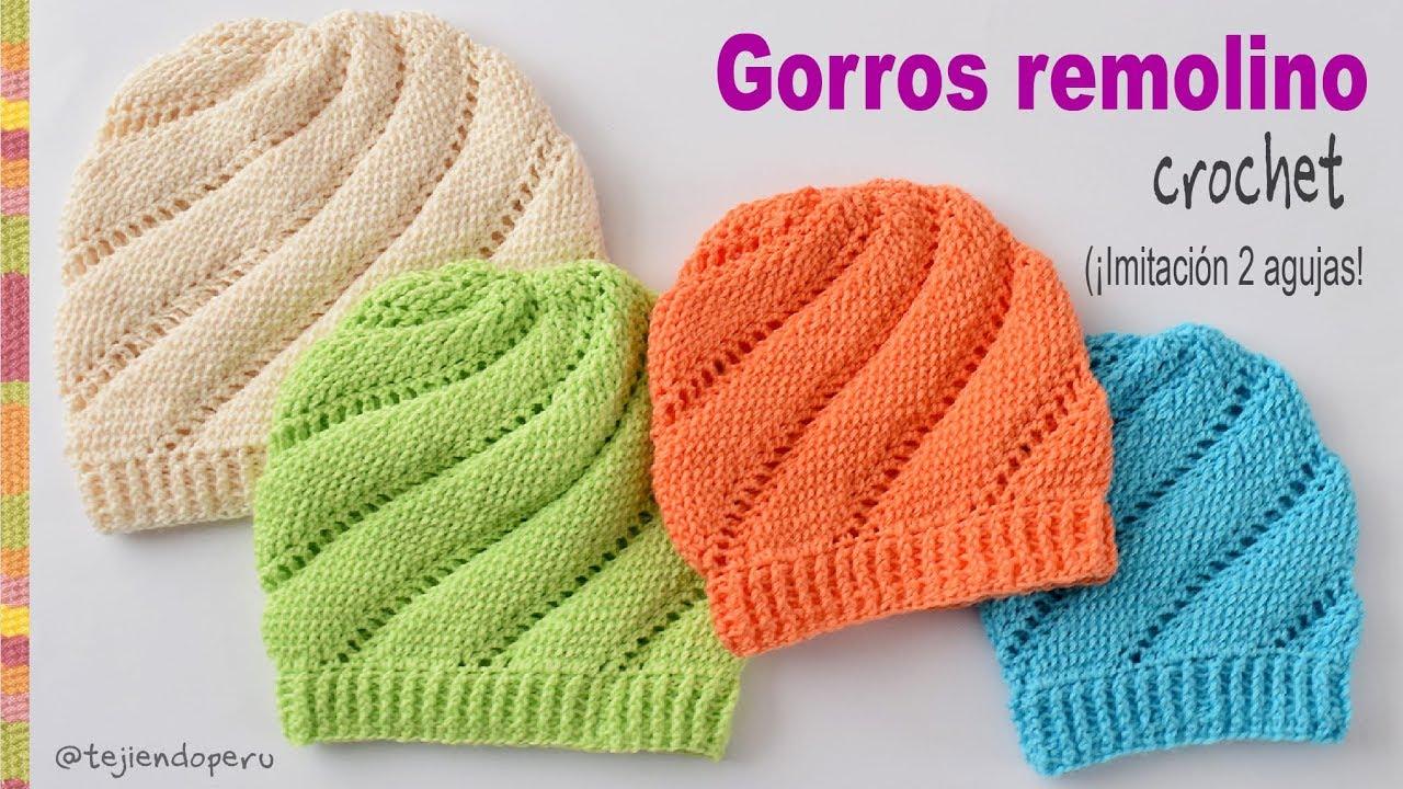 Gorros remolino tejidos a crochet imitación dos agujas - Tejiendo ...