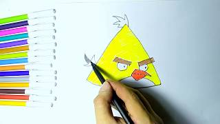 yellow bird angry coloring draw easy