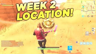 "Fortnite ""Search between an Oasis, Rock Archway and Dinosaurs"" Location Week 2 Battle Star Challenge"