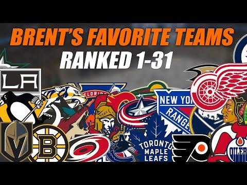 Brent's Favorite NHL Teams Ranked 1-31