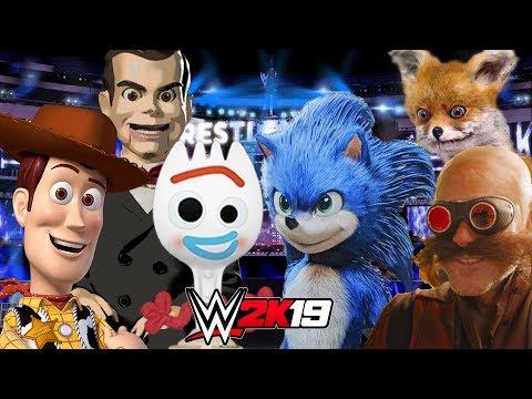 TOY STORY 4 vs MOVIE SONIC | WWE 2K19