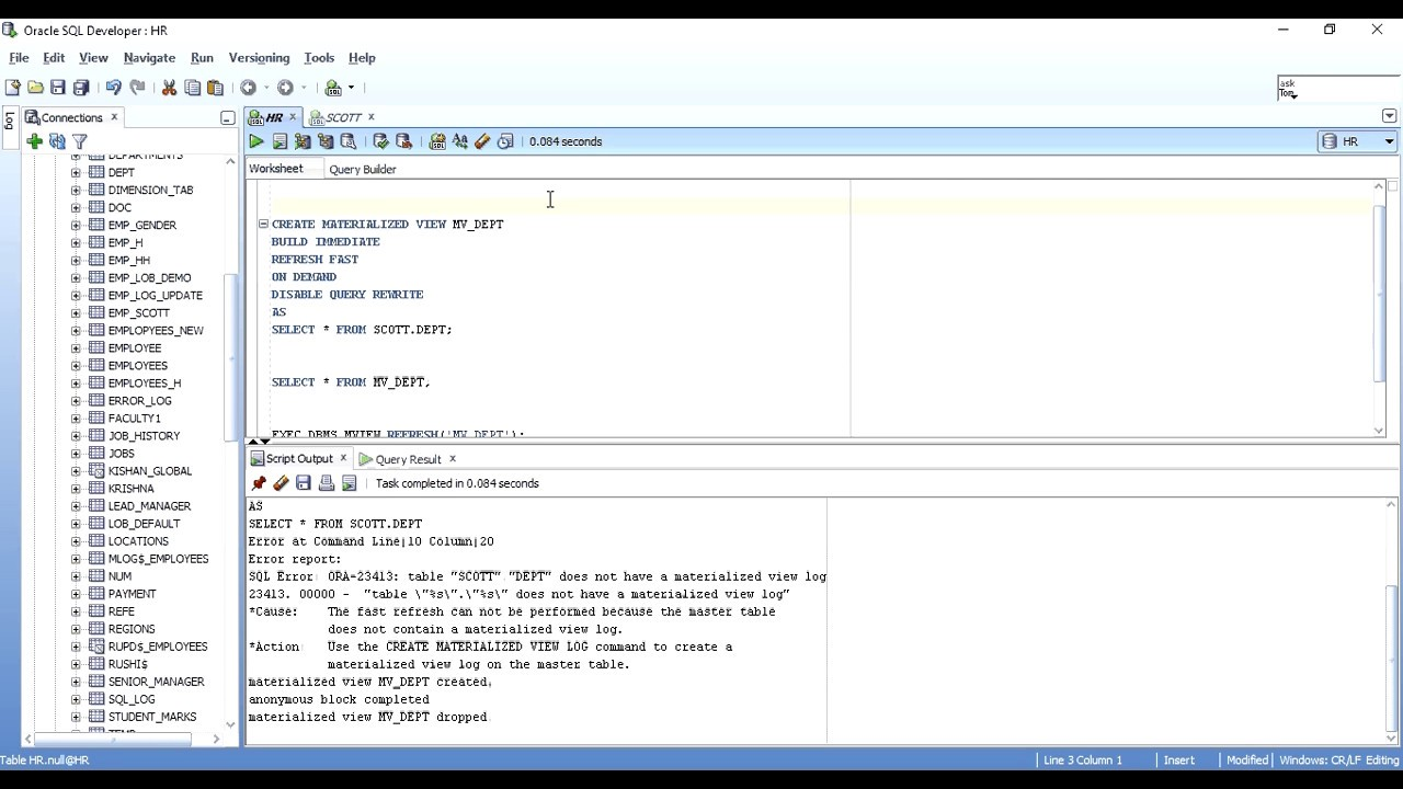Materialized Views in Oracle (Part - 2 Practical Implementation with Examples) - YouTube