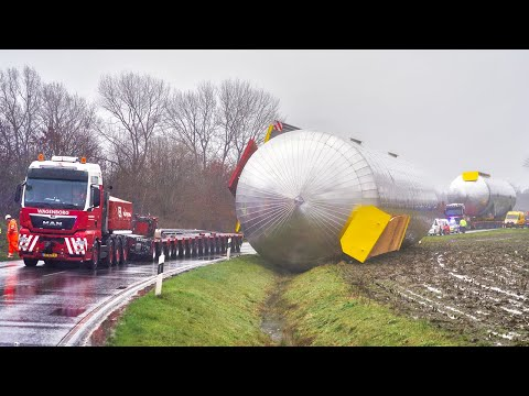 Heavy Haulage of Giant Tank Gone Wrong!