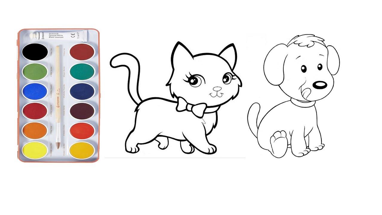 Kedi Köpek Boyama Nasil Yapilir Kedi Köpek çizme çizim Ve Boyama
