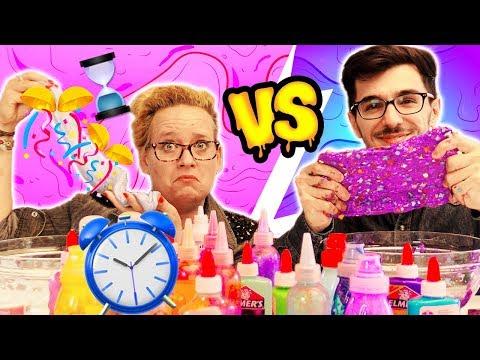30 sec Slime Challenge   Eva vs Claudio   Wer macht den schönsten SLIME?! Schleim gegen die Zeit