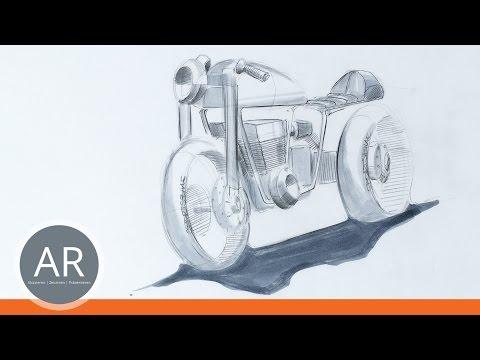Motorräder und Autos zeichnen. So kanst du ein Motorrad zeichnen lernen. Mappenvorbereitungskurs.