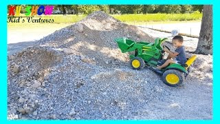 Hauling His Power Wheel Ride On John Deere Tractor, Playing In The Dirt Pile