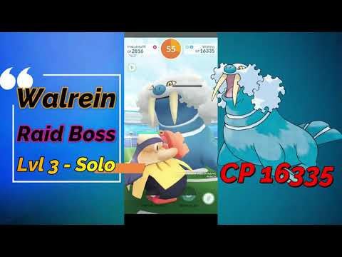 Walrein Raid Boss Level 3 Solo on Pokemon Go
