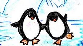 Мультфильм для детей Про Пингвинов - Веселый развивающий мультик нарисованный детьми