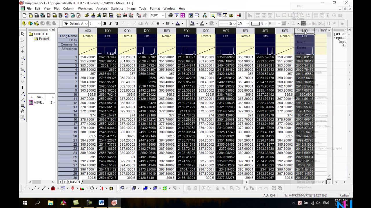 Hướng dẫn dựng phổ với origin 8.5.1 – p1