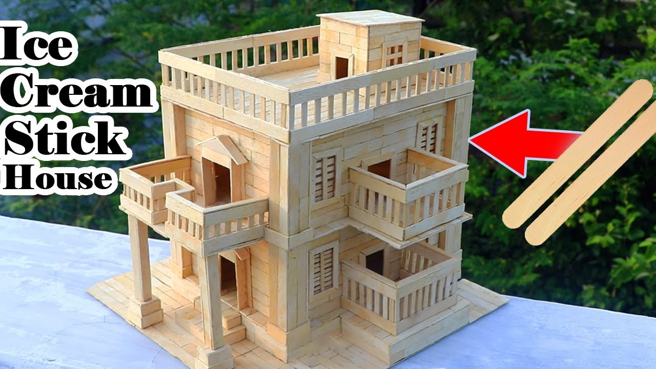 How To Make Modern Popsicle Sticks House Building Popsicle Stick