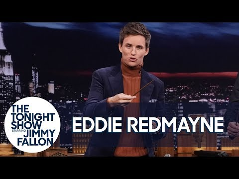 Eddie Redmayne Teaches Jimmy Fantastic Beasts Wand Moves