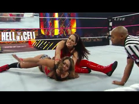 Wwe Hell In A Cell 2014 Brie Bella Vs Nikki Bella Aj Lee