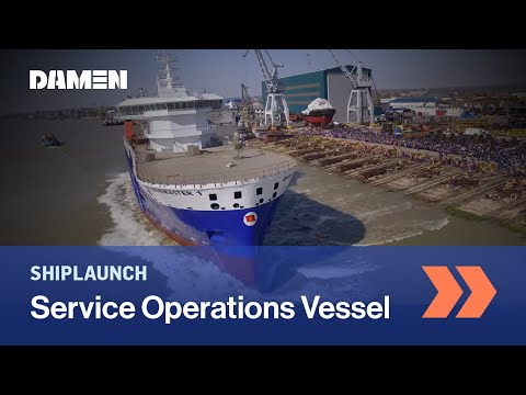 Launch of SOV 'Bibby WaveMaster 1' at Damen Shipyards Galati