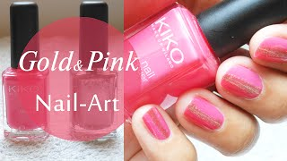 Nail Art Rose et Or / Pink & Gold Nail Art Thumbnail