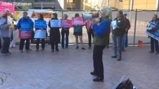 Protest at Idaho congressman Simpson event