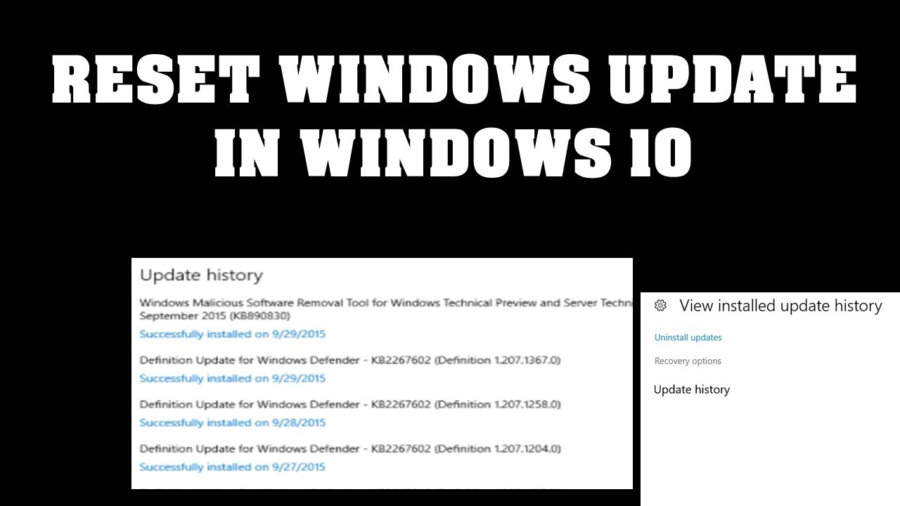 Windows 10, How to reset updates in windows 10