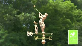 Good Directions 561p Golfer Weathervane   Polished Copper