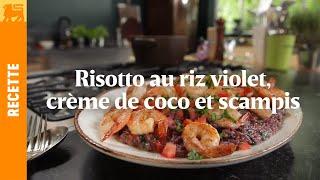 Risotto au riz violet, crème de coco et scampis