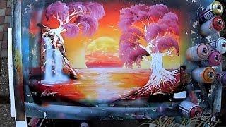 Sakura on Sunrise - By Skech - 3D Spray Paint ART