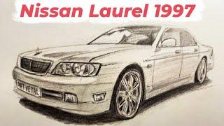 Как нарисовать Ниссан Лаурель 1997   Nissan Laurel 1997