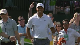 Tiger Woods plays No. 16 during pro-am at Waste Management