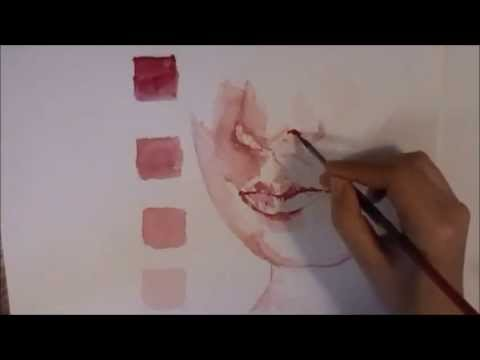 Watercolor lips tutorial speed painting youtube for Watercolor portrait tutorial