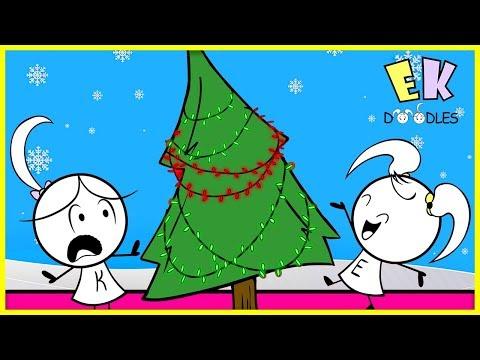 Emma Vs. Kate Decorating Christmas Tree - EK Doodles Cartoon Animation for kids Mp3