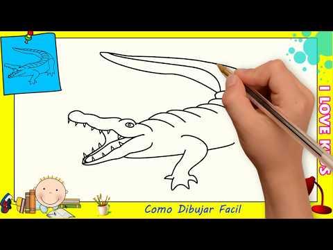 Dibujos de cocodrilos FACILES paso a paso para niños - Como dibujar un cocodrilo 3