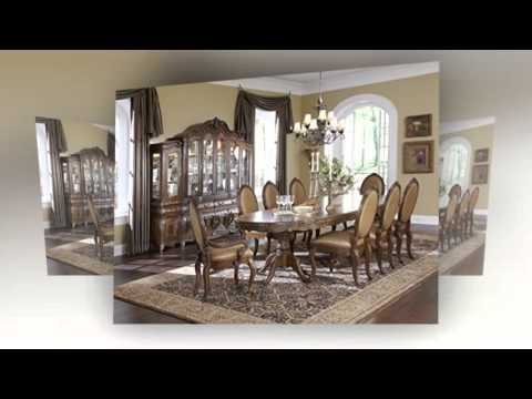 Lavelle Melange Oval Trestle Dining Table Arm Chair Side Chair Set by Aico Amini 7 PC Dining Set